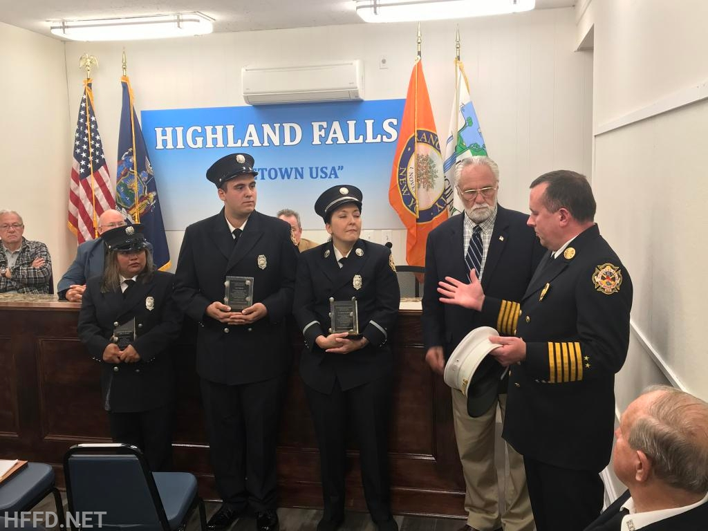 Firefighters James and Sibley, Lt. Marvin, Mayor D'Onofrio, and Chief Smith